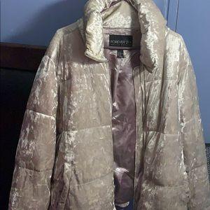 Forever 21+ Velvet Plush Puffer Coat